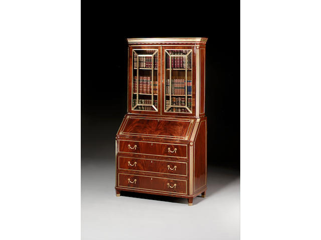 A late 18th century Russian mahogany and brass bound Bureau Bookcase,