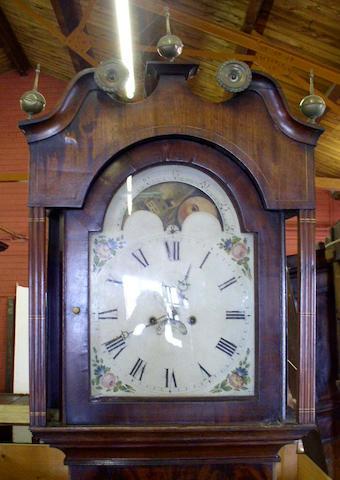 An oak, mahogany and strung painted dial longcase clock, circa 1830,