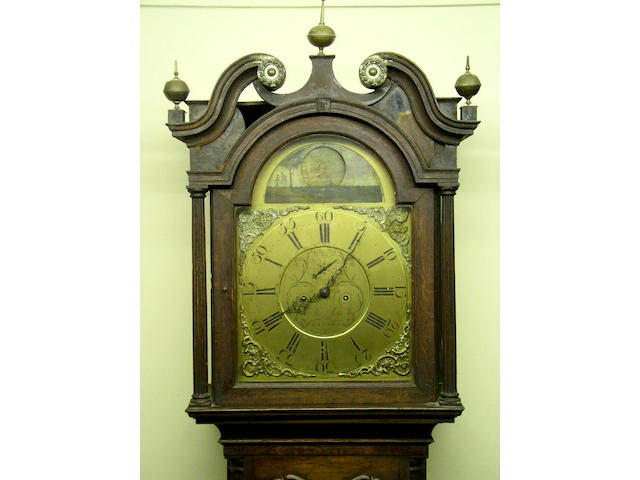 An oak and mahogany crossbanded longcase clock with rocking ship automaton, Thomas Moss, Frodsham, circa 1780,