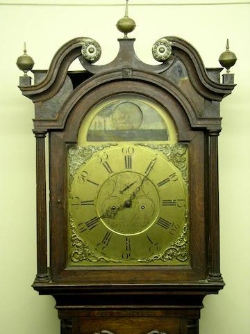 An oak and mahogany crossbanded longcase clock with rocking ship automaton, Thomas Moss, Frodsham, circa 1780,