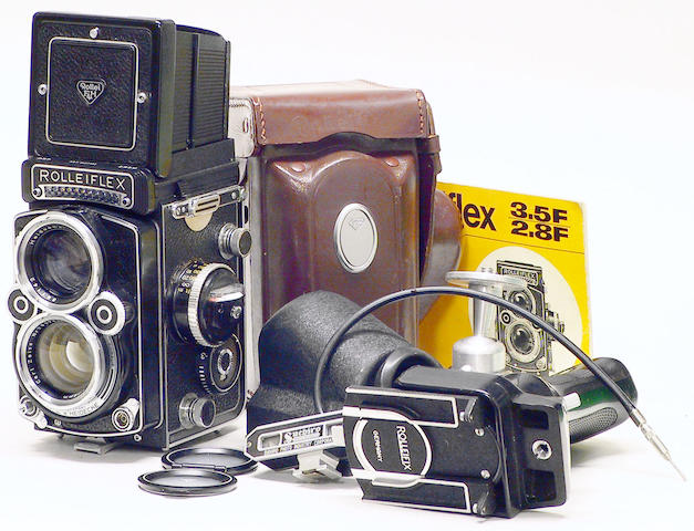 Rolleiflex 2.8F camera, No. 2437180 and accessories.