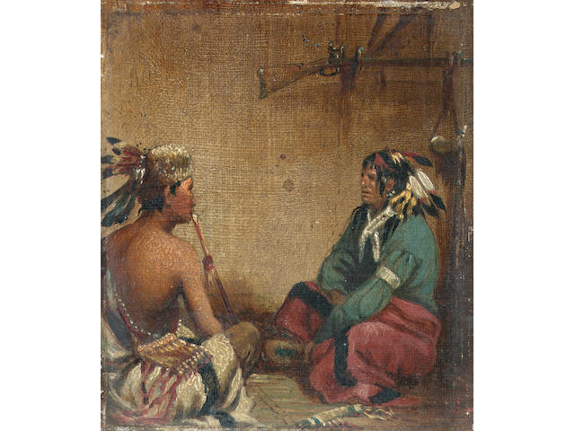 John Mix Stanley (North American, 1814-1872) Native Americans in an interior, a pair 11.5 x 10.4 cm.