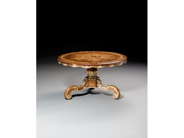 A Victorian walnut marquetry and parcel gilt Centre Table,