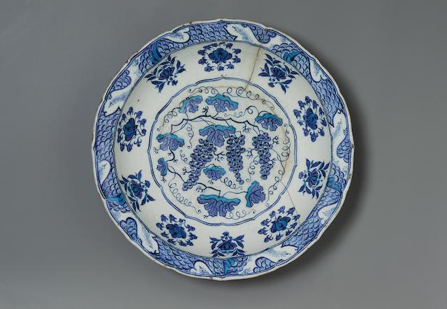"An important Iznik blue and white pottery ""Grape Dish"" Turkey, circa 1525"