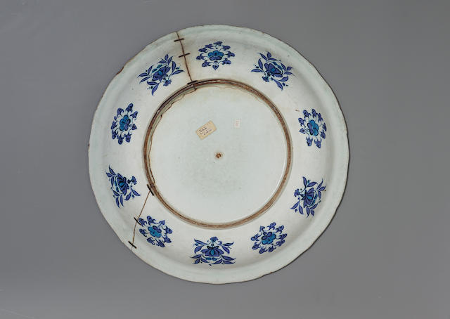 "An important Iznik blue and white pottery ""Grape Dish"" Turkey, circa 1525"