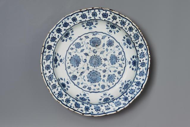 An Iznik blue and white pottery Dish  Turkey, circa 1525-35