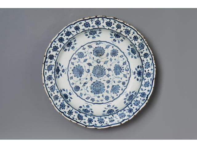 An Iznik blue and white pottery Dish  Turkey, circa 1525-35