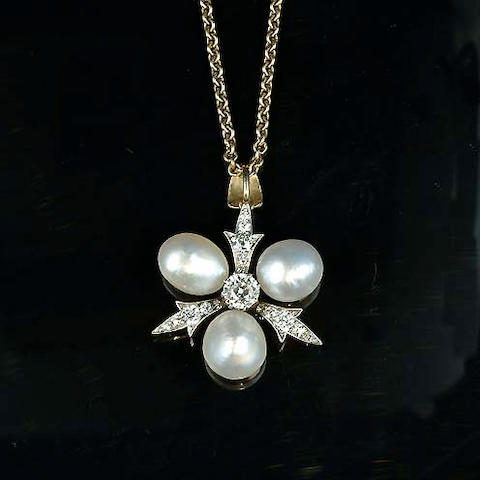 A late 19th century pearl and diamond pendant,