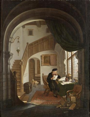 Hendrick van der Burgh (Dutch 1769-1858) The scholar 61 x 47.5 cm. (24 x 18 3/4 in.)