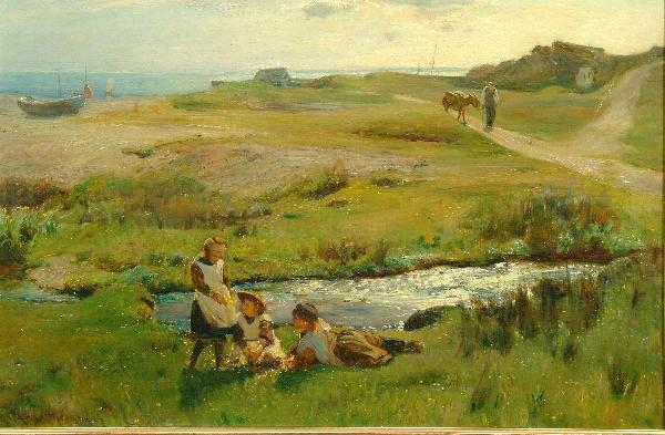 Arthur Friedenson (1872-1955) Children picking primroses, a view of Runswick Bay beyond 39 x 59.5cm.