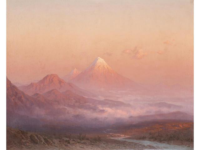 Ilya Nikolaevich Zankovsky, 1843-1917 Sunset over Mount Ararat 55 x 68.5 cm. (21 3/4 x 27 in.)