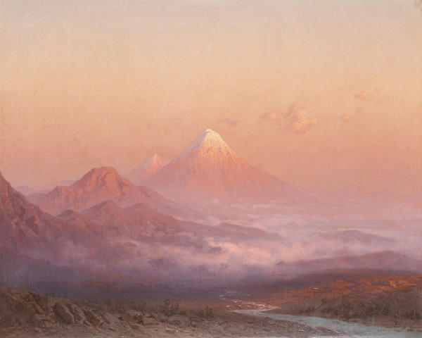Ilya Nikolaevich Zankovsky, 1843-1917 Sunset over Mount Ararat 55 x 68.5 cm. (21 3/4 x 27 in.)