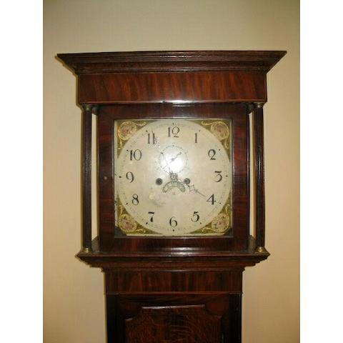 An oak and mahogany painted dial longcase clock, circa 1830,