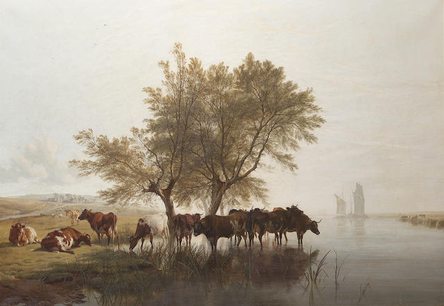 Thomas Sidney Cooper, RA (British 1803-1902) Cattle watering 97 x 138 cm. (38 1/4 x 54 1/4 in.)