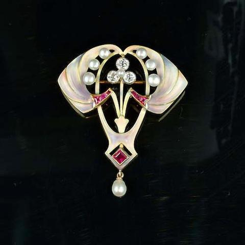 An art nouveau enamel and gem-set brooch/pendant,