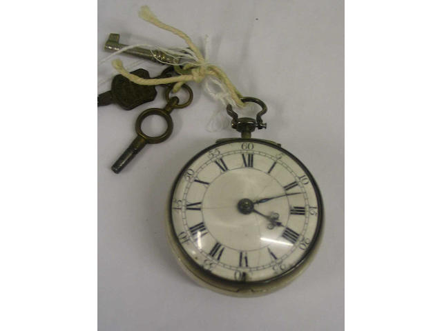 A silver pair cased verge movement pocket watch,