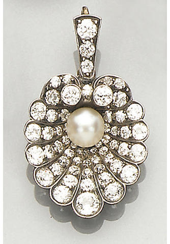A late Victorian diamond and pearl pendant/brooch,