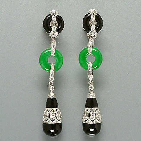 A pair of jade, diamond and onyx earpendants