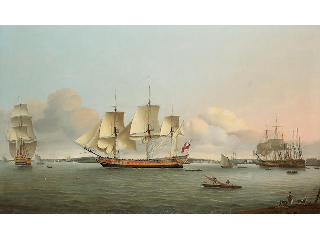 Thomas Luny (British, 1759-1837) The 'King George' off Greenwich 72.4 x 120.4cm. (28 1/2 x 47 3/8in.