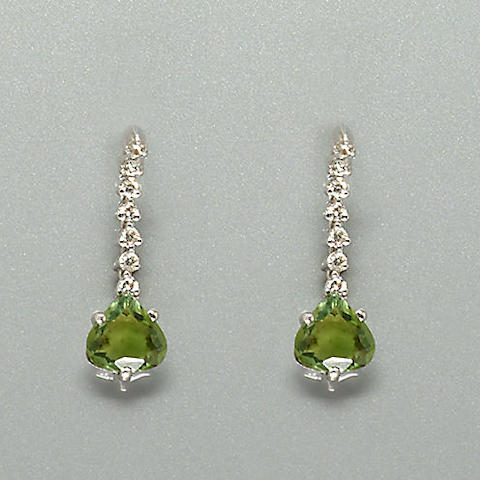 A pair of tourmaline and diamond earpendants,