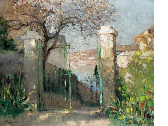 Pierre Eugene Montezin (1874-1946) La porte du jardin 55 x 65.5cm. (21 5/8 x 25 3/4 in.)