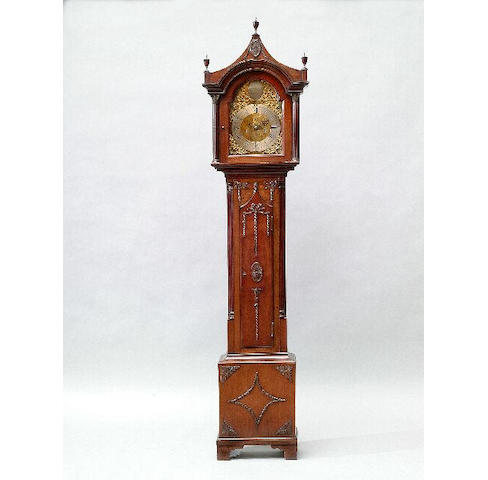 A George III style mahogany longcase clock, the movement with brass arched dial inscribed James Brand, Edinburgh, the case, with pagoda top, applied with ribbon-tied swags of husks, 190cm high.