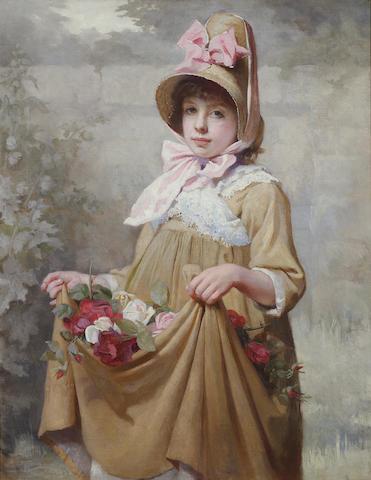 Harriette F. A. Sutcliffe (fl. 1881-1922) Gathering roses 91.5 x 72 cm (36 x 28 1/4 in).