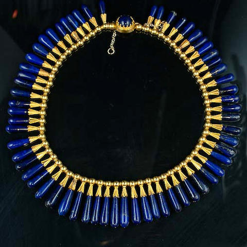 Lapis Egyptian style necklace, pair of earrings and bits,