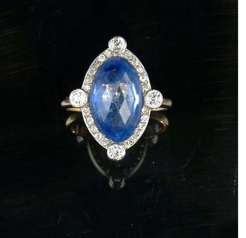 A sapphire and diamond cluster ring, by Tiffany,