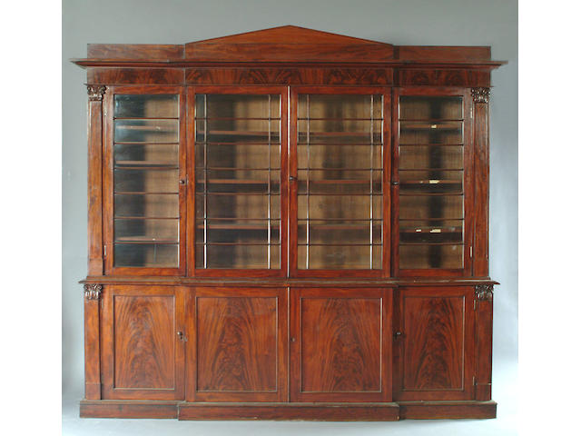 An early Victorian mahogany breakfront library bookcase,