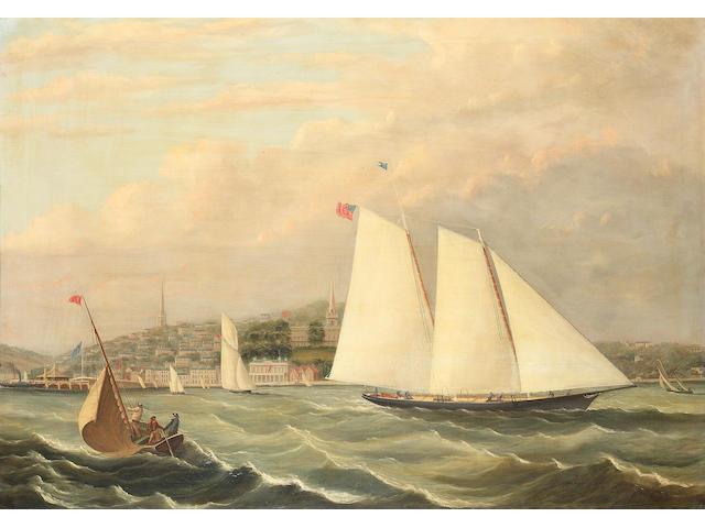 Follower of Arthur Wellington Fowles (British, 1815-1883) The yacht 'America' off Ryde  75 x 105.4cm