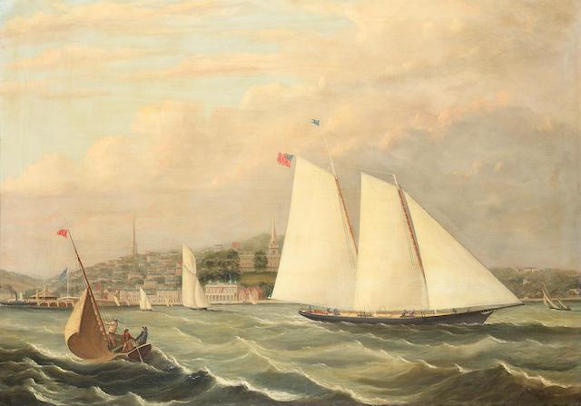 Follower of Arthur Wellington Fowles (British, 1815-1883) The yacht 'America' off Ryde 75 x 105.4cm. (29 1/2 x 41 1/2in.)
