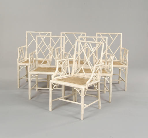 A set of six faux bamboo dining chairs