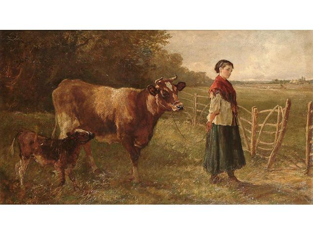Heywood Hardy (British 1842-1933) The cow-girl, 45 x 77 cm. (17 3/4 x 30 1/4 in.)