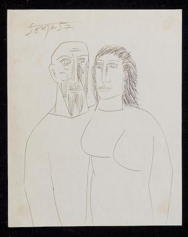 Francis Newton Souza (India, 1924-2002) Standing couple