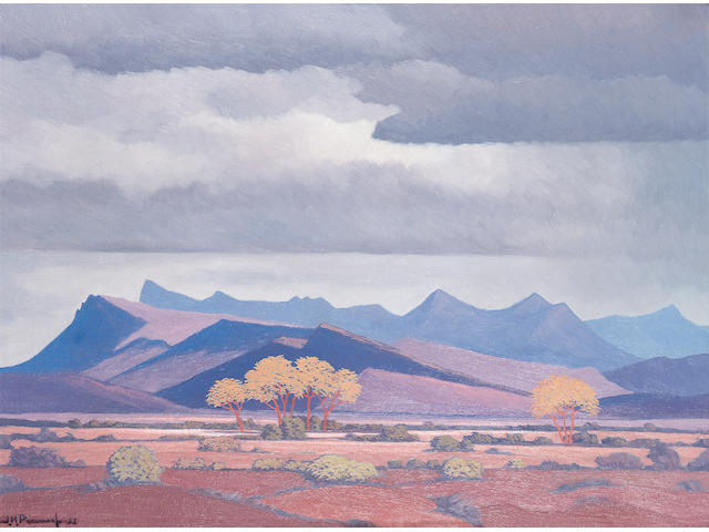 Jacob Heinrich Pierneef (South African, 1886-1957) Mountains with trees in the foreground 43.2 x 58.4 cm. (17 x 23 in.)