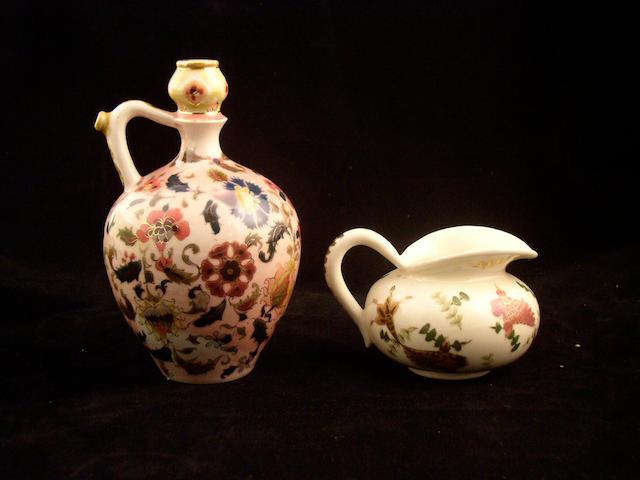 A small Zsolnay jug, circa 1878,