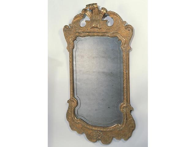 A George I gilded wall mirror