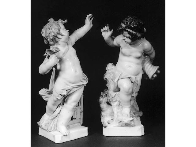 A pair of 19th Century Meissen figures of children,