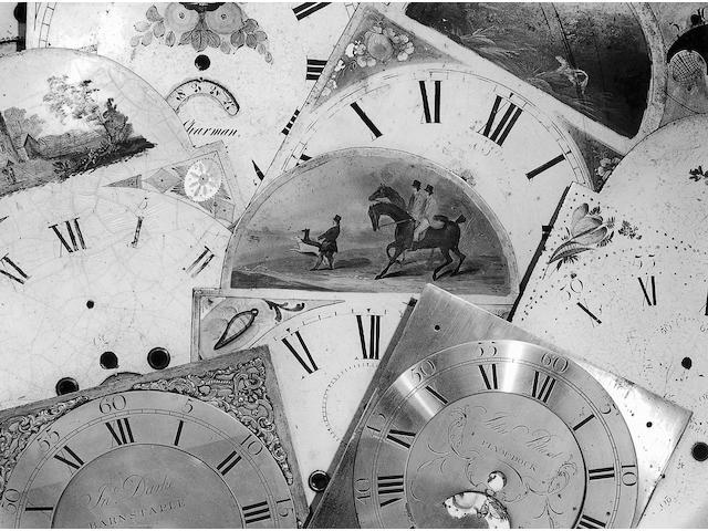 A longcase clock dial,