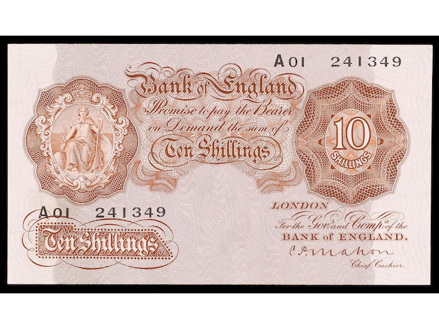 Bank of England, C.P.Mahon, Ten shillings 1928, A01 241349, first issue.