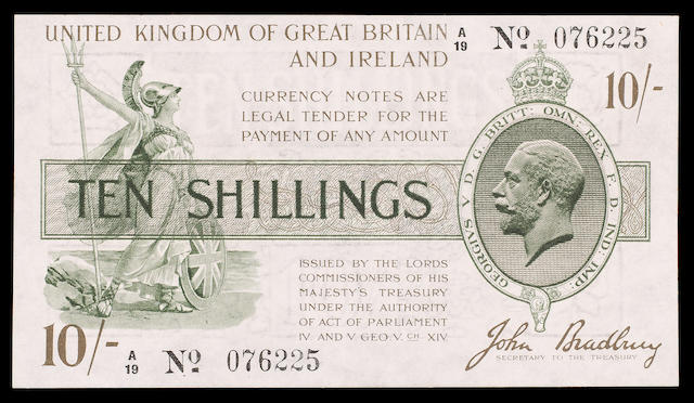 Treasury, John Bradbury, Ten shillings 1918, A/19 076225.