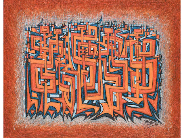 Sadequain Abstract Compsition in orange