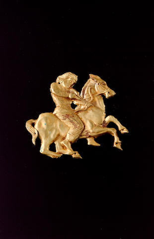 A Graeco-Scythian gold horseman mount, acquired in 1968 from Miss Gray