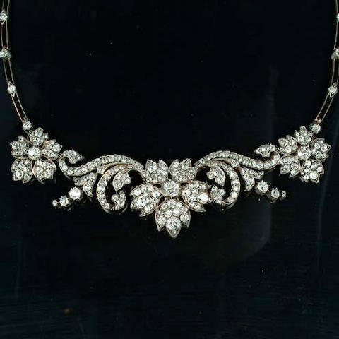 A late Victorian diamond necklace/tiara