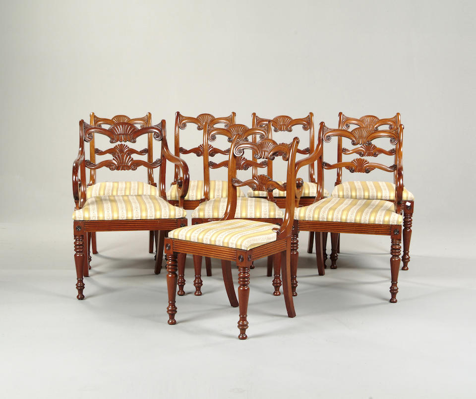 A set of seven Regency mahogany dining chairs