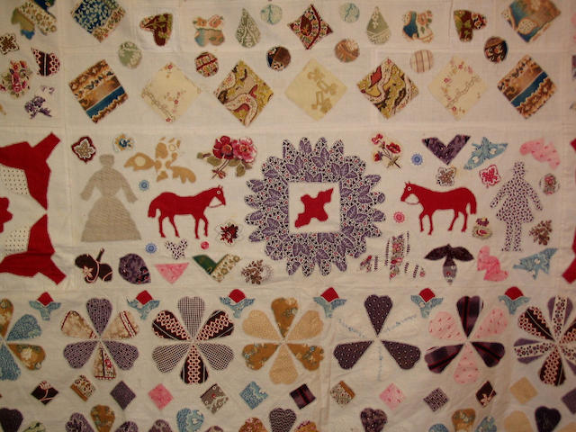 An early nineteenth century linen and patchwork quilt,