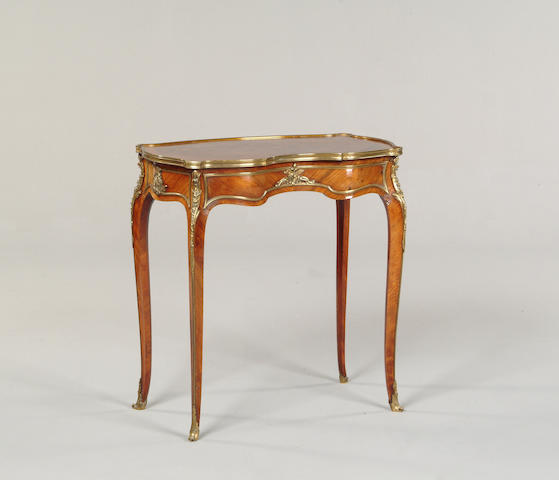 A late 19th century French kingwood, marquetry and gilt metal mounted side table