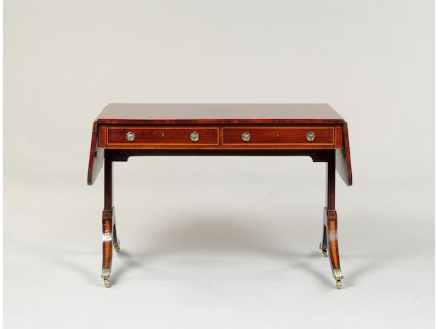 A 19th century mahogany and satinwood banded sofa table