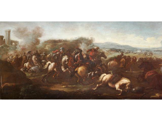 Attributed to Antonio Calza (Verona 1653-1725) A cavalry skirmish 59.2 x 118 cm. (23¼ x 46½ in.)